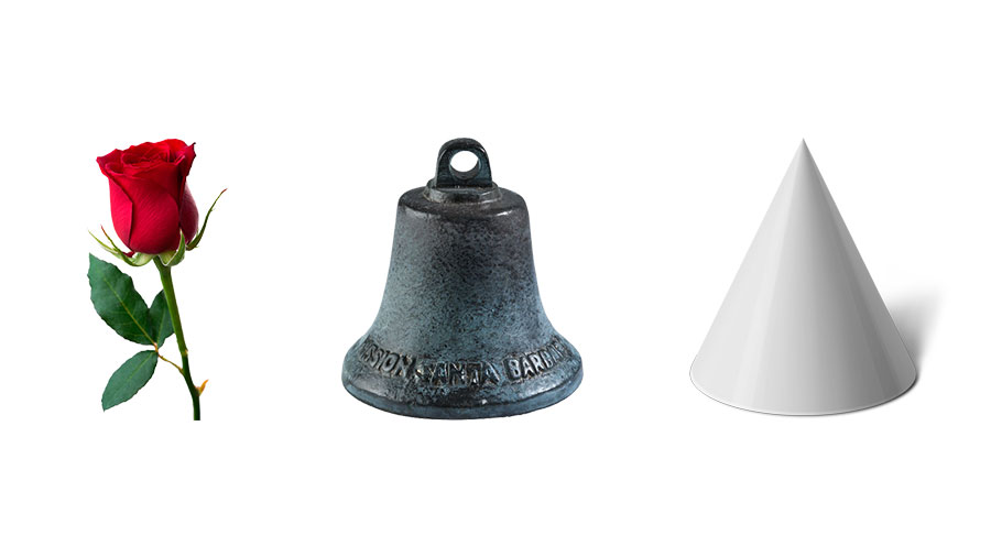Rose, church bell, cone