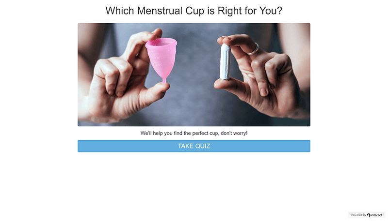 Reusable Menstrual Cups: Menstrual Cup Quiz Start Screen