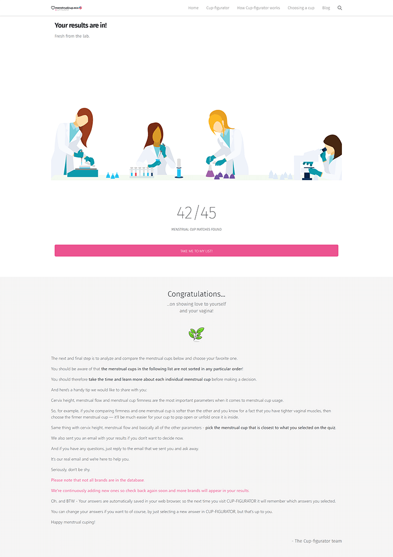 menstrualcup.eco: CUP-FIGURATOR™ Menstrual Cup Finder Results Page