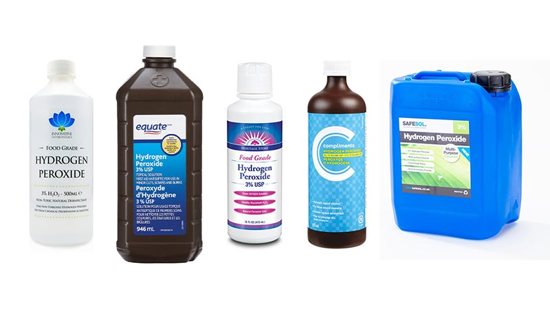 3% Hydrogen Peroxide Products From Different Brands