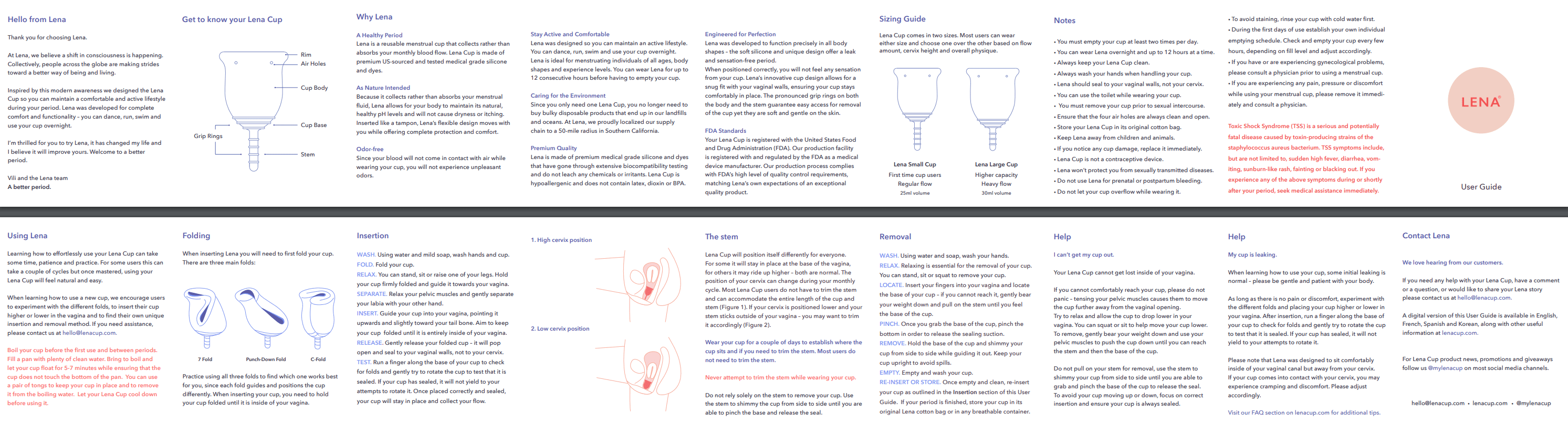 Lena menstrual cup user instructions