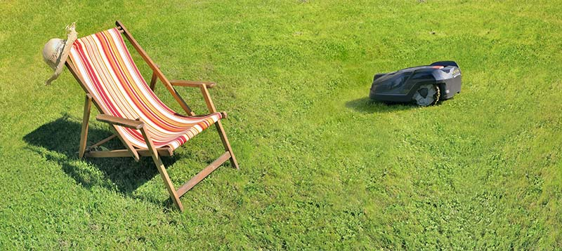 Robot lawn mower and a chair