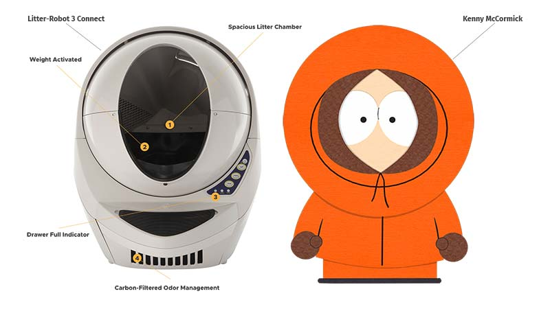 Litter-Robot 3 Connect and Kenny McCormick